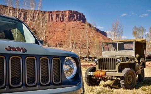Jeep Renegade 75th Anniversary Edition neben Willys MB von 1941